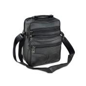 Men Leather Handbag Business Shoulder Messenger Backpack Crossbody Casual Tote Sling Travel bag with Handle Black