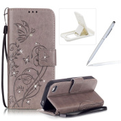 iPhone 4S Rope Wallet Case,Book Style iPhone 4 Lanyard Strap Portable Carrying Leather Case,Herzzer Laconic Premium Bling Glitter Diamonds Solid Colour [Butterfly Flower Embossed Carved] Pu Leather Purse Pouch Magnetic Closure Flip Folio Protective Cas ..