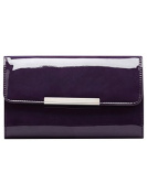 M & Co Ladies Sleek Classic Rectangle Shiny Patent Metal Trim Party Clutch Bag