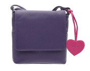 Mala Leather ANISHKA Collection Compact Leather Shoulder / Cross Body Bag 772_75 Purple