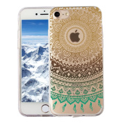Samidy Iphone 7 Case, Multi-coloured Mandala Hybrid Protective Case, Soft TPU Bumper and Hard Back Cover Scratch Resistant Cover Case for iPhone 7 12cm with a Free Screen Protector