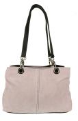 Craze London Womens Small Twin Top Multi Zip Pockets Italian Suede Leather Shoulder Bag