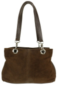 Craze London Womens Small Twin Top Multi Zip Pockets Italian Suede Leather Shoulder Bag