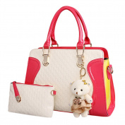 Qianle Women's PU Shoulder Bag Handbag Messenger Purse Set Bear Pendant Rose & White