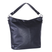 Dondon Women's Shoulder Bag Synthetic Leather Hobo Bag with Zipper Black 41 x 31 x 14 cm