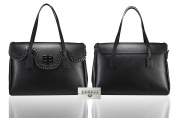 FERETI genuine leather Black ladies bag braided woven chain High quality