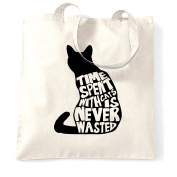 Time Spent With Cats Is Never Wasted Cats Lovers Silhouette Shopping Tote Bag.