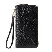 BOSTANTEN Women Leather Rose Wallet Floral Purse Clutches Wristlet Credit Card Organiser Black