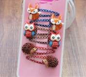 Lovely Animal Hair Clip Mini Cartoon Owl and Fox Hedgehog Hair Clip Set Little Girl Hair Accessory BB clips-6 pcs