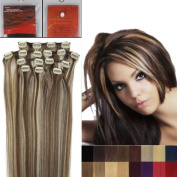 50cm 8Pcs Clip in Remy Human Hair Extensions 4/613 Medium Brown Mixed with Light Blonde Beauty Salon Women's Accessories 100g with clips each set