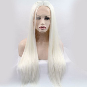 natural 1001 colour pure white silky straight synthetic lace front wigs snow white straight heat resistant fibre hair