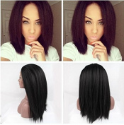 natural 1b black yaki straight synthetic lace front wigs for black woman premium black heat resistant fibre hair wigs