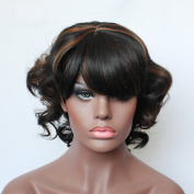 Black Women Short Natural Curly Black Mixed Brown Synthetic Hair Wigs Mixing Wigs Fashion Female African American Wigs