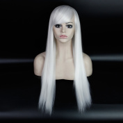 Royalvirgin Special offer 70cm Chinese best heat resistant synthetic cheap Silky Straight hair women long white wig cosplay for costume party