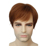 High Quality Natural Light Brown Short Straight Mens Hair Wig Heat Resistant Handsome Costume Wigs