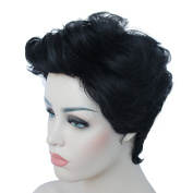 Synthetic Short Natural Curly Jet Black Women's Costume Wig With Side Bangs for Lady