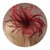 large looped net and feather fascinator on a forked clip and brooch pin. in assortment of pink/fuchsia and ...