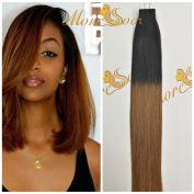 Moresoo 36cm Two Tone Coloured Natural Black to Dark Chocolate Brown Tape in Seamless Real Human Hair Extensions 20pcs/50g