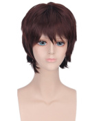 Men's Dark Brown Animotion Fancy Dress Short Cosplay Wigs with Cap