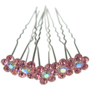 Jewellery of Lords 10 Light Pink Colour Crystal AB Flower Wedding Bridal Bride Prom Hair Bobby Pin