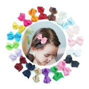 20pcs 7.6cm Boutique Windmill Style Girls Hair Bows Clips Grosgrain Ribbon Headbands Alligator Hair Clip for Babies Teens Toddlers