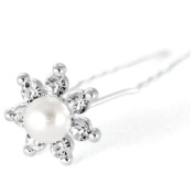 """Mont Cherry High Quality Elegant """"Big White Pearl Star"""" Crystal Diamante Wedding Bridal Prom Hair Pins 10 pins with Silver Bindi/Tattoo pack Combo by Trendz"""