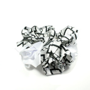 Scrunchie in White with Black Pattern with Three Fabric Rose and Pearls