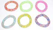 jelly curled telephone line hair bands for children(cute and colourful) , pack of 6