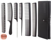 6pcs Professional Salon Hair Cutting Comb Set, Stylist Hairdresser Barber Comb Set, Stylist Carbon Comb Set by Perfehair