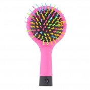 Bluelans® Rainbow Volume Anti-static Magic Hair Curl Straight Massage Comb Brush with Mirror