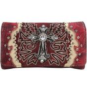 Justin West Embroidery Design Rhinestone Cross Shoulder Concealed Carry Handbag Purse