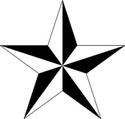 B & W Nautical Star Set of 4 Temporary Tattoos (Lasts 3 to 4 days) by XOXTattoo
