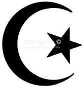 Eastern Crescent Star Set of 4 Temporary Tattoos (Lasts 3 to 4 days) by XOXTattoo