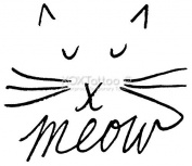 Meow Cat Set of 4 Temporary Tattoos (Lasts 3 to 4 days) by XOXTattoo