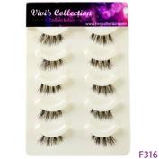 Vivi's Collection 5 Pairs F316 Half Finest Eyelashes Black Corner False Fake Eye Lashes ...
