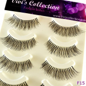 Vivi's Collection 5 Pairs F15 Finest Eyelashes Black False Fake Eye Lashes