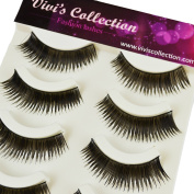 Vivi's Collection 5 Pairs F12 Finest Eyelashes Black False Fake Eye Lashes