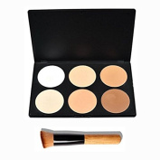 YUNI Makeup Contour Kit Highlight and Bronzing Powder Palette - 6 Colours with Premium Make Up Brush