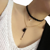 Fashion And Personality Crystal Lace Collarbone Chain Black Tassel Choker Necklace Double-Deck Temperament Collar Bib Collar Chain Necklace for Best Xmas Gift