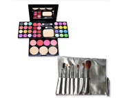 DSstyles 7 Pcs Professional Makeup Kabuki Brushes Kit - Grey and 39 Colours All in One Makeup Palette Kit with Eyeshadow, Face Powder and Blush