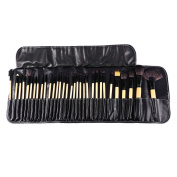 Makeup Brush Set--Pack of 32 Professional Wooden Handles Makeup Brush Kit Cosmetic Tool Set with PU Leather Case