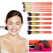 CASCOVE 10pcs Kabuki Style Professional Make up Brush Set Foundation Blusher Face Powder