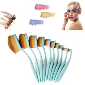 Vander 10 pieces Professional Soft Oval Toothbrush Makeup Brush Sets(Blue)