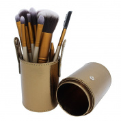 Multi-mo 12pcs Golden Cylinder Makeup Brushes Set Eyeshadow Blush Brush Set