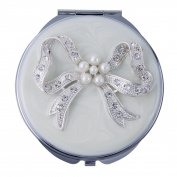 White Enamel Compact Mirror with Swarovsky Crystal Bow Design