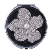 Black Enamel Compact Mirror with Swarovsky Crystal Flower Design