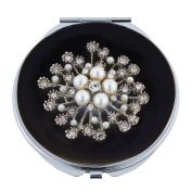 Black Enamel Compact Mirror with Swarovsky Crystals and Pearls