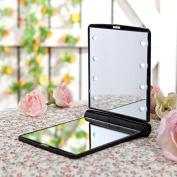 Small Folding Compact Travel Make Up Shaving Mirror Pocket Mirror with 8 LED Light for Women