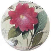 Royal Vintage Chic Travel Compact Make-Up Mirror Pocket Handbag & Travel Size - Pink Flower