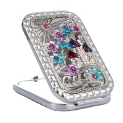 Makeup Cosmetic Double-sided Mirror Creative Portable Mirror Silver-A3
